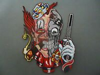 SMOKING CLOWN WITH PISTOL IRON ON BIKER QUALITY PATCH HARLEY DAVIDSON