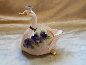 Lovely Swan Figurine ceramic/porcelain # 10 Norcrest w/Purple Flowers & Gold