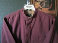 LARGE 16.5-33/34 PREMIUM COTTON CLUB ROOM MAROON BANDED COLLARLESS WESTERN SHIRT