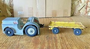 MODEL DOEPKE TOYS CLARK AIRPORT TRACTOR AND BAGGAGE TRAILER USED CONDITION CAST