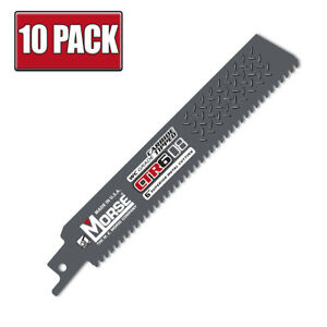 """6"""" x 8 TPI Morse CTR Carbide Tipped Heavy Duty Reciprocating Saw Blade - 10 Pack"""