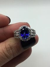 JWBR 10 K White Gold Cocktail Ring With Blue Sapphire and CZ Stones Size 7.25
