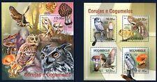 MOZAMBIQUE 2013 CORIJAS E COGUMELOS BIRDS OWLS MUSHROOMS CHAMPIGNONS STAMPS MNH