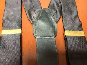 CAS 100% Silk Suspenders Dark Gray Embroidered Fleur de Lis