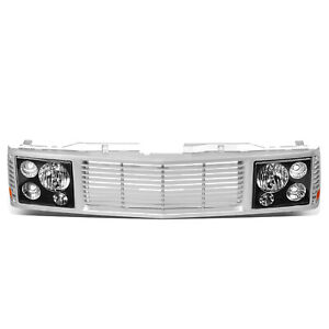 Fit 94-00 Chevy GMC C/K 1500 2500 3500 Headlight Lamp + Front Mesh Grille Grill