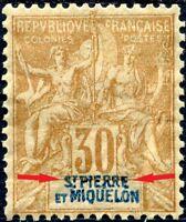 """COLONIES SAINT-PIERRE-et-MIQUELON N° 67 NEUF* Variété """"LÉGENDE DÉPLACÉE ↑"""""""