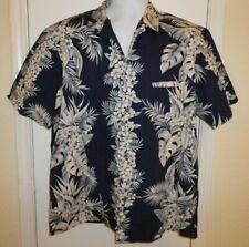 Royal Creations Men Size XL Cotton Blue Hawaiian Floral Luau Shirt Welt Pocket