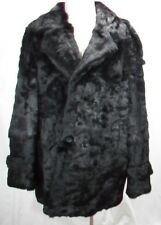 FREE SHIPG REAL FUR DYED BLACK FRENCH REX MEN DOUBLE BREAST HALF COAT BIG & TALL