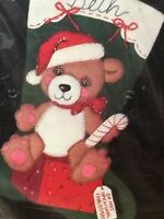 Bucilla TEDDY CLAUS Christmas Stocking Kit Felt Applique Santa Bear Vintage