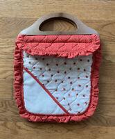 Estate Find! Vintage Knitting Crochet Bag Purse Wood Handles Strawberry