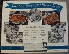 1942 WWII 'Menu-Maker' TEACHING POSTER~Nutrition-Plus in the Packed HOT Lunch~
