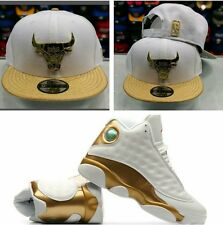 Matching New Era Chicago Bulls Metal Badge Snapback Hat Jordan 13 DMP White Gold