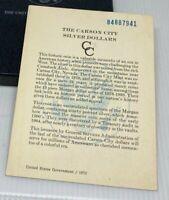 1884-CC GSA Hoard Morgan Silver Dollar CORRECT SERIAL COA - NO COIN - No Box