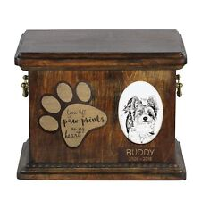 Biewer Terrier - Urn for dog's ashes with ceramic plate and description Usa