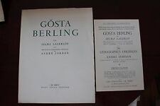 ✒ PROSPECTUS Souscription Selma LAGERLOF Gosta Berling 1957 André JORDAN