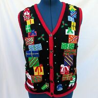 Bobbie Brooks Christmas Sweater Vest Ugly 12/14 Holly Embellished Santa Reindeer