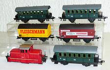 6x Fleischmann: Diesellok 1306, Personenwagen B3953, Güterwagen H0