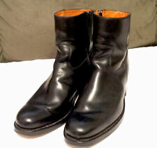 FRYE Black Leather Mens Zip Boots Sz 10 M #87545 F955 F-02 Made In Spain
