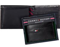 MEN'S TOMMY HILFIGER RANGER PASSCASE BILLFOLD WALLET BLACK GENUINE LEATHER - BOX