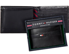 MEN'S TOMMY HILFIGER RANGER PASSCASE BILLFOLD WALLET BLACK GENUINE LEATHER - BOX