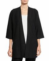 NWT Eileen Fisher Washed Crepe Kimono Jacket in Black - size S #C1057