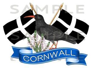 Cornwall, Cornish Chough, Crossed Flag Sticker, Truck, Car, Motorhome, Van, Bike