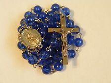"Vintage blue plastic bead 22.5"" rosary Virgin Mary & Jesus centerpiece"