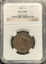 1838 U.S. CORONET HEAD LARGE CENT ~ NGC GRADED AU53 BN! $2.95 MAX SHIPPING!