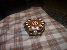 "Vintage Italian Wooden Inlay Mini Trinket Box W/ Star 2.5"" Vg !"