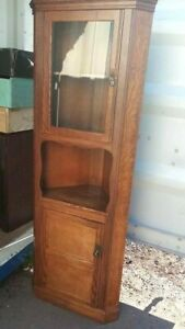 Antique oak double free standing corner cabinet, solid oak cupboard 67 cm wide
