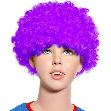 80s Curly Afro Wig Party Clown Funky Disco Kids Childs Adult Costume Purple Hair