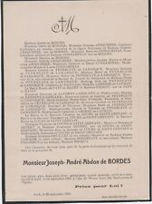 *1909 Faire-part décès Joseph-André-Abdon de BORDES - Auch (Gers)