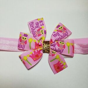 Elastic Stretchy Hadband With Ribbon Bow IT'S MY BIRTHDAY Baby Toddler Bows