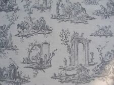 French Toile 100% cotton fabric sold by meter 54'' approx. Slate grey design
