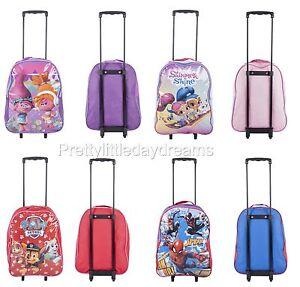 New disney kid boys girls school wheeled trolley bag shimmer/shine/troll/spider