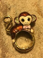 NEW BETSEY JOHNSON MONKEY JUNGLE ENAMEL RING ELASTIC STRETCH MULTIPLE SIZES