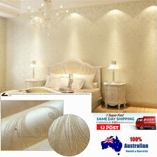 10M 3D Thick Texture Non Woven Fabric Euro Elegant Pearl White Wallpaper Roll AU