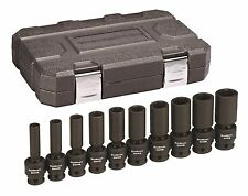 "Gearwrench 84943N 10 Pc 1/2"" Drive 6 Point SAE Deep Universal Impact Socket Set"