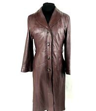 Womens Leather Trench 1970s Coat Burgundy Size 8