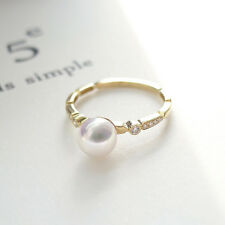 White Cultured Akoya Pearl Ring Solid 14K Yellow Gold 6-6.5MM Size 6 AAA Quality