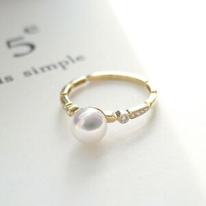 AAA White Genuine Japanese Akoya Pearl Crystal Ring 14K Solid Yellow Gold Size 6