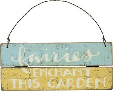"""New!~Distressed Wood Slat Sign ~ """"Fairies Enchant This Garden""""~Plaque/Fairy"""