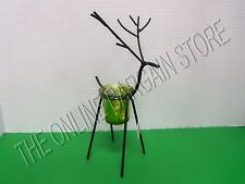 Christmas Holiday Black Metal Reindeer Votive Candle Holder Green Glass Small