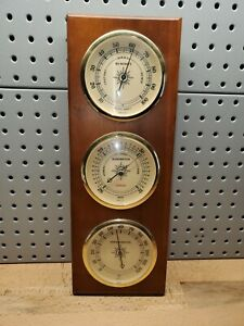 VTG Sunbeam Wooden Weather Station Thermometer Barometer Humidity Made in USA