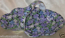 TWO'S COMPANY TWC3 MOLLIE SMALL HANDLED TRAY PURPLE & WHITE CHINTZ ON BLACK