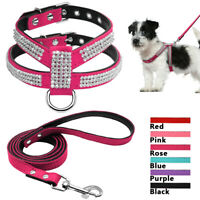 Bling Dog Harness and Leash set Soft Leather Rhinestone Puppy Dog Collar Vest