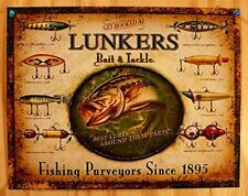 Fishing Tin Sign Distressed Retro Vintage Lures Bait Tackle Cabin Wall Art Decor