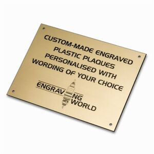 420mm x 297mm Personalised Engraving Engraved Plastic Plaque Sign (Gold/Black)