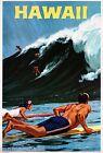 1950s Hawaii Hawaiian Island Surfing Vintage U.S. Travel Advertisement Poster