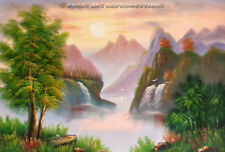 "South China, Waterfall River Scene, in Oil 36""x25"""
